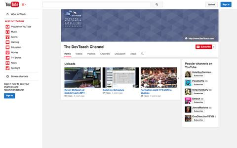 Screenshot of YouTube Page youtube.com - The DevTeach Channel  - YouTube - captured Oct. 23, 2014