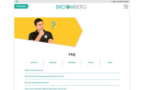 Screenshot of FAQ Page broomberg.in - Frequently Asked Questions on Professional Cleaning Services - captured July 1, 2017