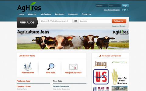 Screenshot of Home Page aghires.com - AgHires - Agriculture Jobs - captured Sept. 30, 2014