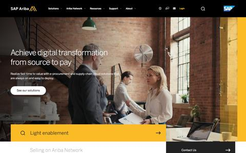 Screenshot of Home Page ariba.com - SAP Ariba | Source-to-Pay Procurement and Supply Chain Cloud Solutions for Spend Management - captured May 15, 2018