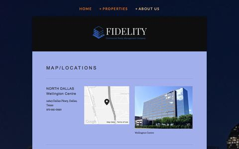 Screenshot of Locations Page dallasbuildings.com - Map/Locations — FIDELITY COMMERCIAL REALTY MANAGEMENT COMPANY - captured Oct. 5, 2014