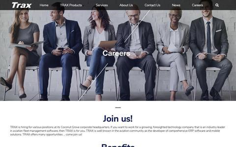Screenshot of Jobs Page trax.aero - Careers   TRAX eMRO Airline Fleet Management Software - captured Oct. 20, 2018