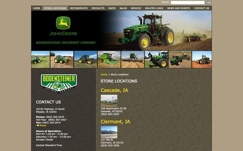 Screenshot of Locations Page bodimp.com - Bodensteiner Implement Company - Store Locations - captured Oct. 27, 2014