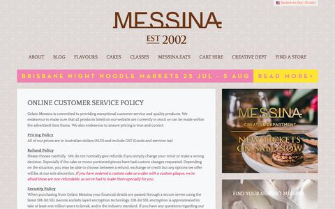 Screenshot of Privacy Page gelatomessina.com - Online Customer Service Policy | Gelato Messina Australia - captured July 17, 2018