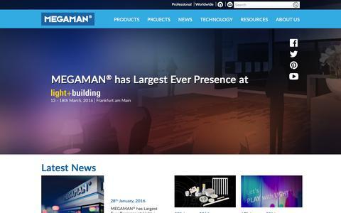 Screenshot of Home Page megaman.cc - MEGAMAN | LED, Luminaires, Components, Smart Lighting & Energy-efficient Lighting - captured Feb. 4, 2016