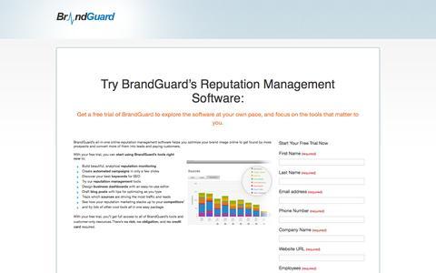 Screenshot of Trial Page brandguardsoftware.com - Demo « Brand Management Software - captured Sept. 30, 2014