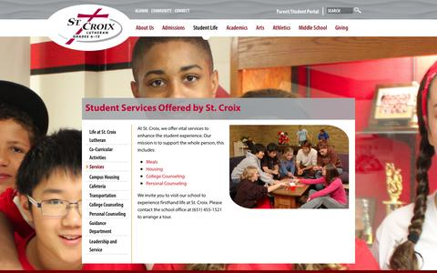 Screenshot of Services Page stcroixlutheran.org - St Croix Lutheran | Student Services | Meals | Housing | Counseling - captured Sept. 30, 2014