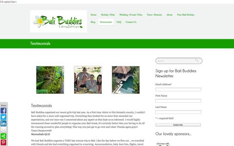 Screenshot of Testimonials Page balibuddies.com - Testimonials - Bali BuddiesBali Buddies - captured Sept. 30, 2014