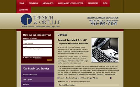 Screenshot of Contact Page tolawoffice.com - Contact Us | Terzich & Ort, LLP | Maple Grove Minnesota - captured Oct. 6, 2014