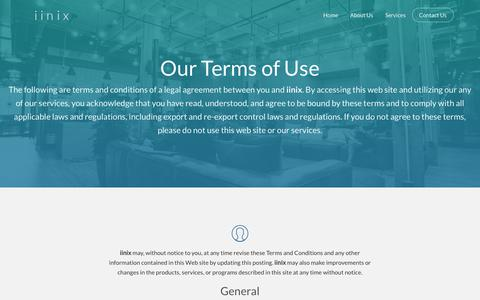 Screenshot of Terms Page iinix.com - Terms of Use | iinix - Your Cyber Security Partners - captured Oct. 13, 2018