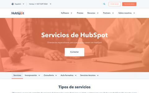 Screenshot of Services Page hubspot.es - Servicios de HubSpot | Recursos y consejos personalizados para tu empresa inbound - captured March 31, 2018