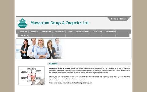 Screenshot of Jobs Page mangalamdrugs.com - Mangalam Drugs & Organics Ltd. - Careers - captured Oct. 4, 2014