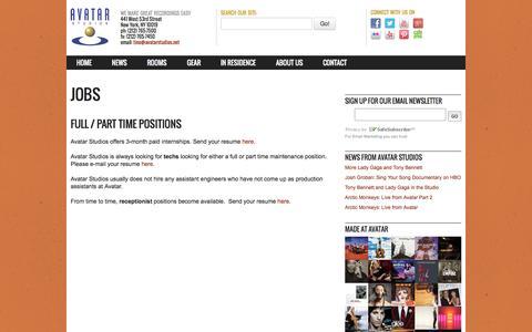 Screenshot of Jobs Page avatarstudios.net - Jobs   Avatar Studios - captured Sept. 30, 2014