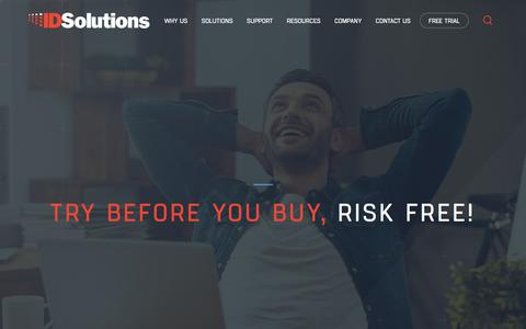 Screenshot of Trial Page e-idsolutions.com - Try Before You Buy, | IDSolutions - captured Oct. 1, 2017