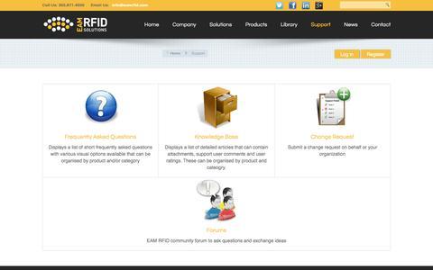 Screenshot of Support Page eamrfid.com captured Jan. 24, 2016