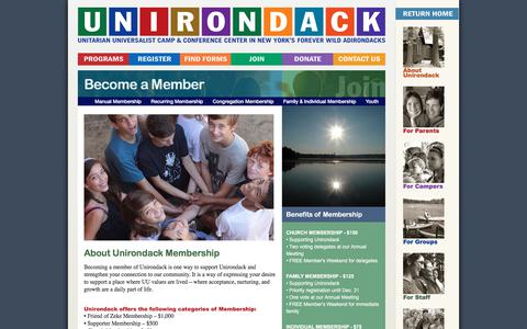 Screenshot of Signup Page unirondack.org - Become a Member | Camp Unirondack - captured July 5, 2017