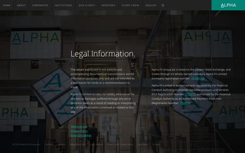 Screenshot of Terms Page alphafx.co.uk - Legal Information — Alpha FX Group plc - captured July 29, 2018