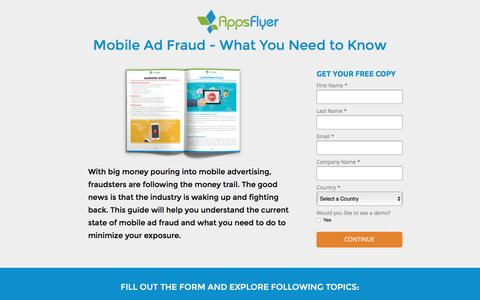Screenshot of Landing Page appsflyer.com - Mobile Ad Fraud - What You Need to Know - captured March 22, 2016