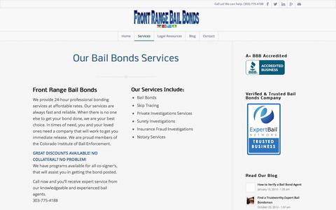 Screenshot of Services Page frontrangebb.com - Services - Front Range Bail Bonds - captured Oct. 6, 2014