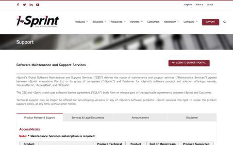 Screenshot of Support Page i-sprint.com.sg - Support - i-Sprint Innovations - captured Oct. 10, 2019