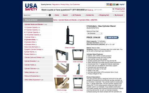 Screenshot of Landing Page usasafety.com - Gas Cylinder Stand, 2 Tanks, GR275FS - USASafety.com - captured Oct. 27, 2014