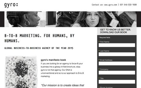 Screenshot of Landing Page gyro.com - B-TO-B MARKETING. FOR HUMANS, BY HUMANS. - captured May 10, 2016