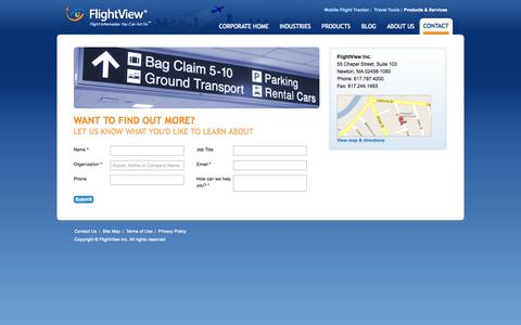 Screenshot of Contact Page flightview.com - FlightView Inc. - Products & Services - Contact - captured Oct. 29, 2014