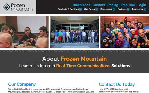 Screenshot of About Page frozenmountain.com - About Frozen Mountain Software | WebRTC and RTC Solutions - captured Dec. 19, 2018