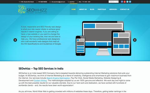 Screenshot of Home Page seowhizz.com - SEOwhizz | Best SEO services in India - captured Sept. 30, 2014