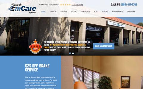 Screenshot of Home Page camarillocarcare.com - Camarillo Auto Repair | Camarillo Car Care Center - Camarillo Car Care Center - captured Jan. 25, 2019