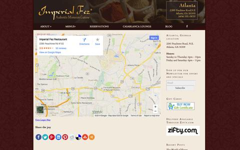 Screenshot of Maps & Directions Page imperialfez.com - Directions - Imperial Fez | Authentic Moroccan Restaurant | Imperial Fez | Authentic Moroccan Restaurant - captured Oct. 6, 2014
