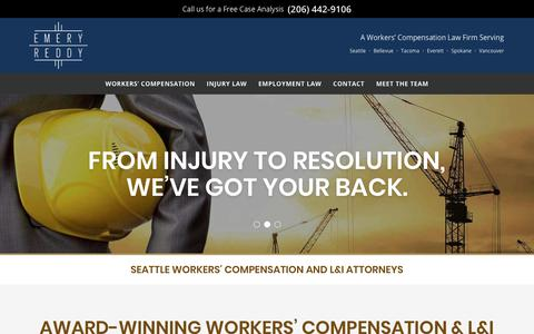 Screenshot of Home Page emeryreddy.com - Emery Reddy | Seattle Workers' Compensation and L&I Attorneys - captured July 18, 2018