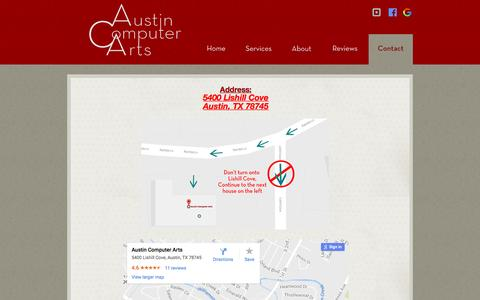 Screenshot of Maps & Directions Page austincomputerarts.com - Map to Austin Computer Arts - Apple Macintosh & Windows PC Repair, Networking & Consulting - captured May 31, 2017