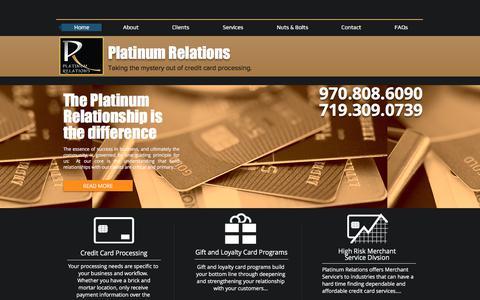 Screenshot of Home Page platinumrelations.com - Merchant Service Accounts | Colorado | Platinum Relations - captured July 19, 2018