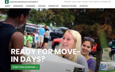 Screenshot of Home Page emich.edu - Eastern Michigan University - captured Aug. 23, 2017