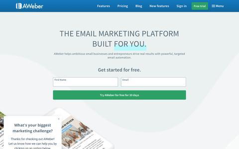 Screenshot of aweber.com - Email Marketing | AWeber - captured Nov. 5, 2018