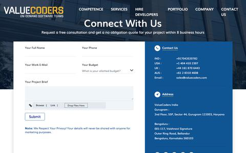 Screenshot of Contact Page valuecoders.com - Contact Us - eBusiness Solutions Firm @ValueCoders - captured Feb. 17, 2020