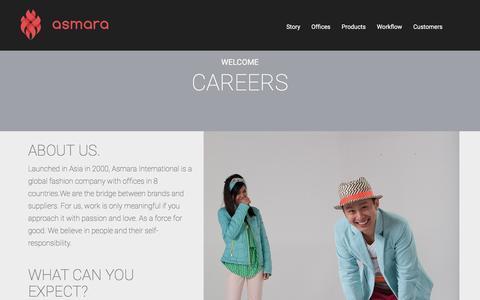 Screenshot of Jobs Page asmarainternational.com - Careers | Asmara International Limited - captured Dec. 26, 2015