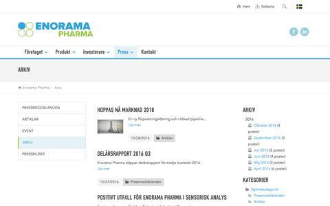Screenshot of Press Page enorama.se - Arkiv - captured Nov. 8, 2016