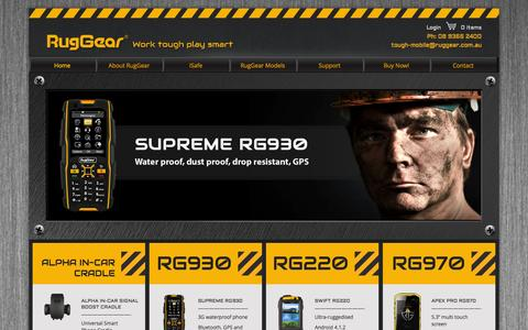 Screenshot of Home Page ruggear.com.au - Rugged Mobile Phones | Tough Mobile Phones | RugGear Australia - captured Oct. 7, 2014