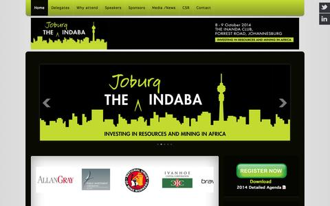 """Screenshot of Home Page joburgindaba.com - The 2014 Joburg Indaba on """"Investing in Resourcing and Mining in Africa - captured Oct. 6, 2014"""