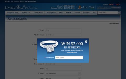 Screenshot of Signup Page beverlydiamonds.com - BeverlyDiamonds.com :: Registration - captured July 29, 2016