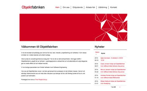 Screenshot of Home Page objektfabriken.se - Start | - captured Sept. 30, 2014