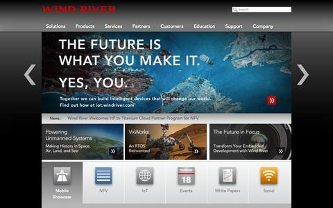 Screenshot of Home Page windriver.com - Wind River - captured Sept. 19, 2014