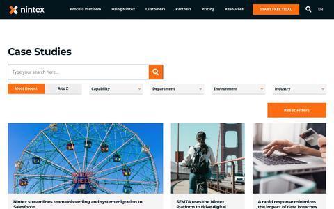 Screenshot of Case Studies Page nintex.com - Workflow and Process Automation Case Studies - Nintex - captured July 13, 2019