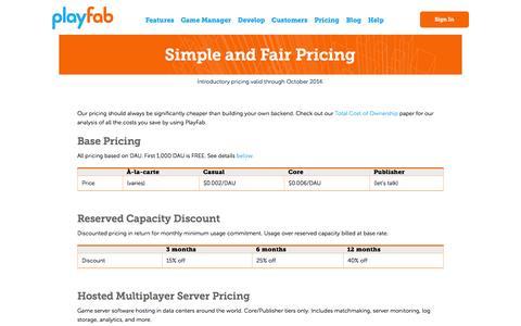Screenshot of Pricing Page playfab.com - Pricing   PlayFab - captured Nov. 2, 2014