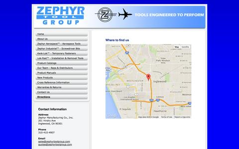 Screenshot of Maps & Directions Page zephyrtool.com - Zephyr Tool Group. Aerospace tools, screwdriver bits, kwik-lok temporary fasteners, lok-fast installation and removal tools - Directions - captured Nov. 5, 2014