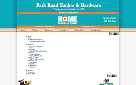 Screenshot of Site Map Page parkroad.net.au - Site Map | Park Road Timber & Hardware - captured July 14, 2017
