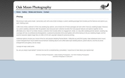 Screenshot of Pricing Page oakmoonphotography.com - Pricing - captured Sept. 20, 2018