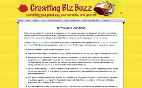 Screenshot of Terms Page creatingbizbuzz.com - Terms of Use | Creating Biz Buzz - captured Sept. 30, 2014